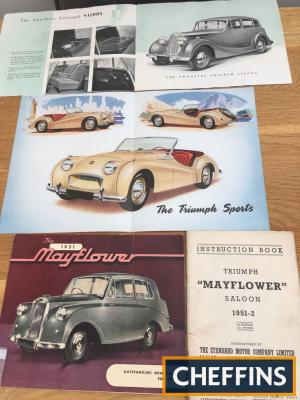 Triumph superb car brochures TR2 (2) with road test. Mayflower/Renown/1950 2litre saloon