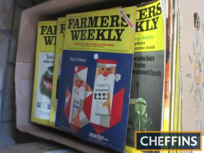Very large quantity of Farmers Weekly magazines, the bulk of which are 1970s-90s with some earlier issues