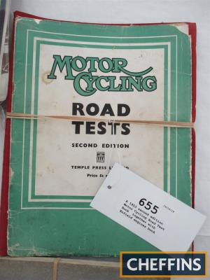 A 1953 second edition Motor Cycling Road Test Book, together with Enfield engines book