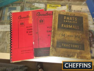 Manuals, parts book and drivers handbook for a Farmall H