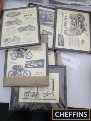 6no. framed posters of various Velocette motorcycles
