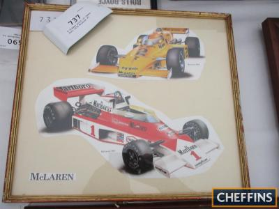 A framed print of James Hunt 1976 McLaren F1