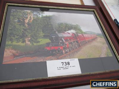 A framed print of rail loco `Leander`
