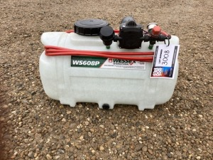 2017 WESSEX ATV SPRAYER SHOPSOILED, MODEL WS608P PRESURE CONTROLLED, 12 VOLT PUMP, PRESURE REGULATOR VALVE, 6 METRE HOSE AND LANCE, SECURING STRAP, APPROX CAPACITY 50LT(SERIAL NO N/A) (61156144) (NO RESERVE)