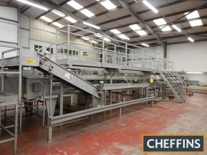 Sammo electronic weighing sorting line with 7no. exits and 4no. lines with overhead gantry and steps Location: Near Taunton