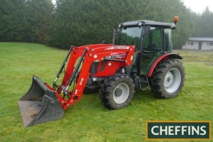 2012 MASSEY FERGUSON 3645 4wd TRACTOR Fitted with MF 916 front loader and bucket and PUH on 420/70R30 rear and 360/70R20 front wheels and tyres. V5C available Reg. No. AE62 AVR Serial No. C45007 Hours: 808 FDR: 11/12/2012