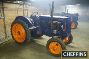 1945 FORDSON E27N Major 4cylinder petrol/paraffin TRACTOR Fitted with a swinging drawbar, belt pulley and rear rowcrop wheels and tyres. V5C available Reg. No. HSU 853 Serial No. 985324