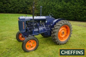 1948 FORDSON E27N Major 4cylinder diesel TRACTOR Fitted with electric start and high top gear 7:7 gearbox on 13-36 rear and 6.00-19 front wheels and tyres. V5C available Reg. No. Q341 WGF Serial No. 27OU4762