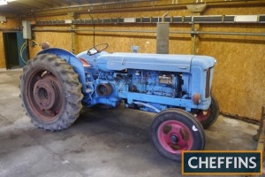 1955 FORDSON E1A Major 6cylinder diesel TRACTOR Fitted with Ford 6D engine conversion with pulley wheel and rear wheel weights