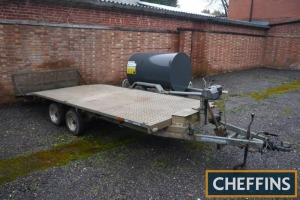 Indespension tandem axle flatbed beavertail trailer fitted with electric winch