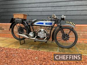 1925 350cc Douglas EW MOTORCYCLE Reg. No. SV 9834 Frame No. MF562 Engine No. YE543 This nicely restored EW has been in the current ownership since at least 1972 as testified to by the accompanying green continuation logbook. Originally bearing the Peterbo