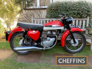 1963 249cc Norton Jubilee MOTORCYCLE Reg. No. AAO 539A Frame No. 10/304 Engine No. 3232* A very pretty example of the Jubilee, that is very well finished in the red and white colour scheme. The Norton has been on static display for the last 9 years with l