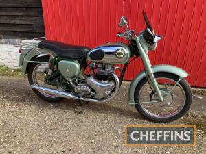 1955 500cc BSA Shooting Star MOTORCYCLE Reg. No. UKP 631 Frame No. CA711538 Engine No. CA7SS1441 A super clean and tidy Shooting Star finished in the traditional green over chrome tank, green mudguards and oil tank with a dark green frame. A letter from a