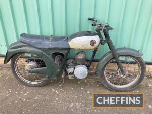 1957 147cc Francis Barnett Plover MOTORCYCLE Reg. No. AAW 455A Frame No. ZN84180 Engine No. 295B15635 A rolling chassis complete with attached tinwork and Villiers 30C engine (lacking clutch), together with a few spares. A project machine, that is complet