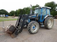 1988 FORD 7810 4wd TRACTOR Stated to have been recently fitted with new clutch c/w Riko 650p front loader and muck fork. V5C available