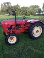 1957 PORSCHE P122 2cylinder diesel TRACTOR Serial No. 122/6159 This matching numbers air cooled Porsche has been restored to a good standard with a view to keeping it as close to factory specification as possible. The electrical system has been entirely