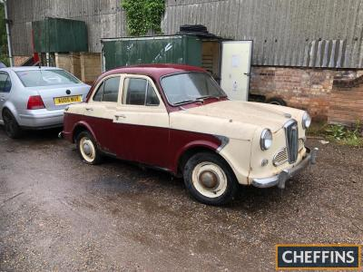 Pre 1963 Wolseley 1500 saloon Reg. No. XKD 107 (expired) The vendor informs us that this cream and red car appears to be complete with a matching interior in surprisingly good order. Offered for sale as a restoration project, the Liverpool registration nu