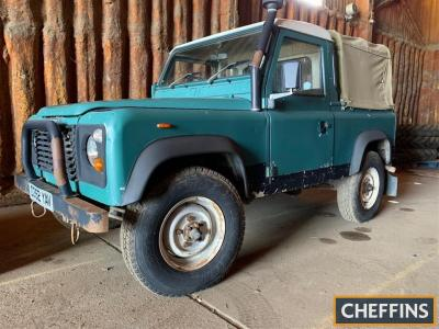 1986 2495cc diesel Land Rover 90 Pick-Up Reg. No. D352 YAV Chassis No. SALLDVAC7AA268311 Fitted with a canvas tilt, snorkel exhaust, chequer plate wing top protectors and a bull bar. The recorded mileage is 92,818 miles with just 2 former keepers noted an