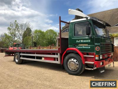 1992 Scania 93M 210 Flatbed Reg. No. J493 HNS Chassis No. 1183529 The 6cylinder flatbed was the subject of a professional restoration 10 years ago we are informed, the body has been re-floored, new tyres are fitted as are a new radiator and shock absorber