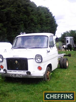 1972 Ford Transit chassis cab Reg. No. KHX 962K This chassis cab finished in white will make a very fine basis for a project, the seats and door cards have been recovered and it supplied with the original chassis plates as well as a handbook and partial V