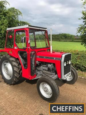 c1979 MASSEY FERGUSON 240 3cylinder diesel TRACTOR Reg. No. EJI 6291 (expired) Serial No. 897030M2 Fitted with cab, this one owner from new example is showing just 3,771 hours and stated to have been restored in recent years by the current owners Grandfat