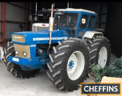 COUNTY 1124 6cylinder diesel TRACTORFitted with Duncan cab, 3pt linkage, PTO, assister ram and Firestone Metric Radial 30ins wheels and tyres. Stated to be in good working order but missing lift lever. Old Irish registration log book available