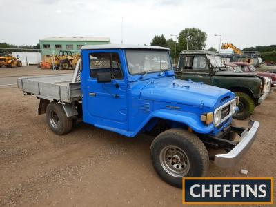 1984 Toyota Landcruiser HJ47 Reg. No. TBA Chassis No. 030377 The vendor informs us that this Landcruiser finished in blue is in very good running order with a rust free chassis and good body, a recent repaint has been carried out. Estimate £10,000 - £11,