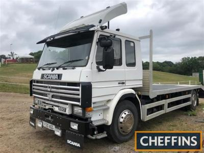 1989 Scania 93m 280 17ton beavertail Reg. No. F130 AOG Chassis No. 1135371 In the same ownership for 5 years, this lorry is fitted with a winch, heavy duty aluminium ramps and a towbar. A new floor on the body is in place as are new tyres all round. The