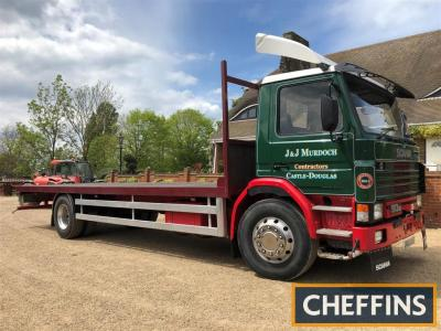1992 Scania 93m 210 flatbed Reg. No. J493 HNS Chassis No. 1183529 The 6cylinder flatbed was subject to a professional restoration 10 years ago. We are informed that the body has been re-floored, new tyres are fitted as are a new radiator and shock absorbe