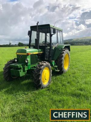 1977 JOHN DEERE 2130 diesel TRACTOR Reg. No. WVL 467S Serial No. 244080 Fitted rear linkage, top link, Sekura cab and front weights. Showing just 1,819 hours, which is believed to be genuine and with V5 available