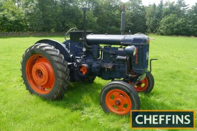 1949 FORDSON E27N L4 4cylinder diesel TRACTOR Reg. No. CJR 959 Serial No. 1098061 Fitted with a Perkins L4 engine, front lights, electric start, rear wheel weights, rear linkage and swinging drawbar on 13.6/12-36 rear and 6.00-19 front with Goodyear tyres