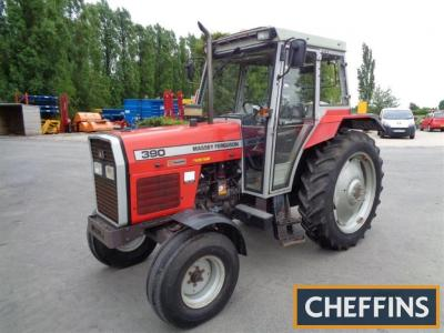1996 MASSEY FERGUSON 390 diesel TRACTOR Reg. No. N384 XCT Serial No. 5008E03474 Fitted with 18 Speedshift, front mudguards, HiLine+ cab, rear linkage, PUH and toplink, showing 3,517 hours