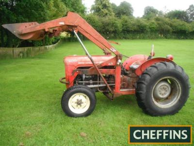 1963 MASSEY FERGUSON 35X Multi-Power 3cylinder diesel TRACTOR Serial No. SNMYW346854 Fitted with a front loader, new clutch and front axle trunion pin, recent full oil change with good oil pressure and Multi-Power is reported to be sharp. A recent import