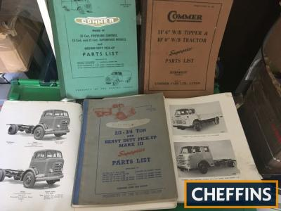 Large box of 1950s-60s Commer lorry workshop manuals and parts catalogues