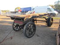 Foden trailer built circa 1930s. Currently in derelict but complete condition this interesting trailer on solid rubber tyres consists of a Foden 5t front axle and wheels with double width Foden 5t wheels to the rear, stabilising jacks are also fitted lead